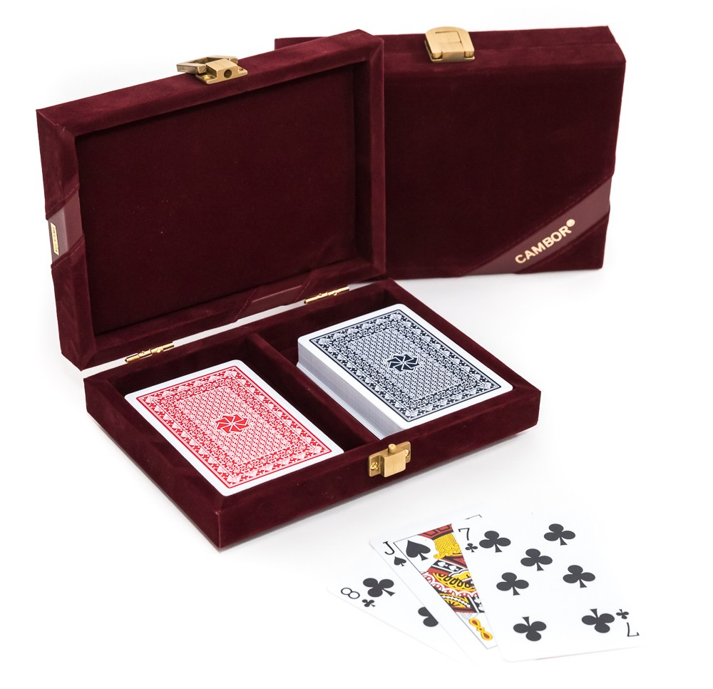 Michael 100% Plastic Washable Playing Cards In Case - Maroon