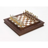 The Gold Chessmen & Marble Board/Cabinet