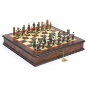Painted Hannibal Roman Chessmen & Ultimate Board/Cabinet