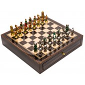 Painted Hannibal-Roman Chessmen & Deluxe Chess Board Case