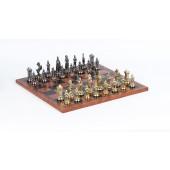 Victorian Chessmen & Leatherette Board