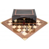 Brass Staunton Chessmen & Master Board with Milano Chess Storage Box