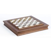 The Gold Checkers & Marble Chess Board/Cabinet