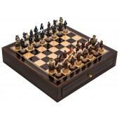 Japanese Samurai Chessmen & Deluxe Chess Board Case