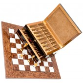 The Gold Chessmen & Exotic Board with Milano Storage Box from Italy