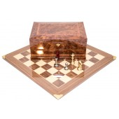 Brass Staunton Chessmen & Master Board with Napoli Chess Storage Box